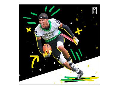 Jarrett Carnes is Different flag football xffl 12 photoshop sports graphics sports design social media mhdesigns
