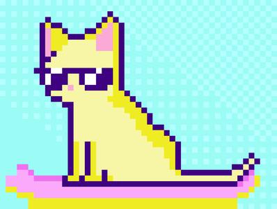 skateboard cat blue vaporwave cat retro pixel art flat icon design