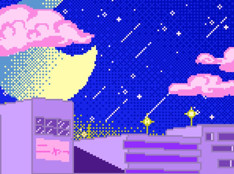 Tokyo Night Sky flat design retro vaporwave pixel art