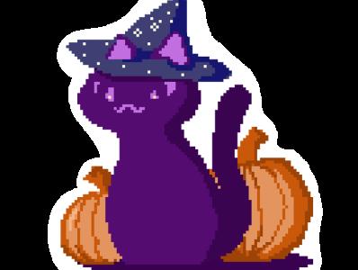 witch cat merchandise flat retro halloween illustration cat vaporwave pixel art design