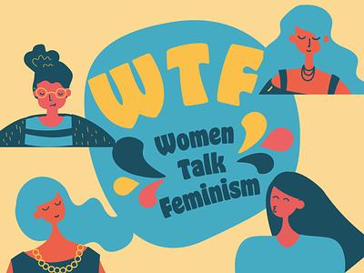 Podcast Cover logo branding art flat vector illustration graphic design feminism talk women podcast