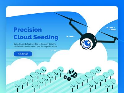 Cloud Seeding airplane uav farm farming rain cloud ux branding ui logo flat design art vector art graphic design illustration vec vector prototype concept