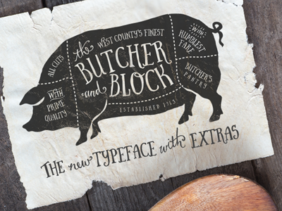 Butcher and Block Typeface font typeface typography vintage pig chicken farm catchwords butcher cow meat recipe