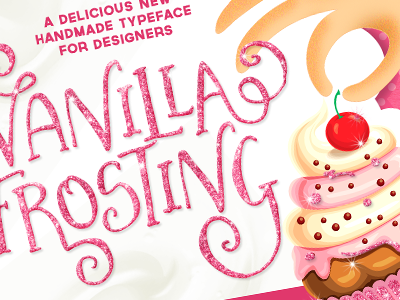 Vanilla Frosting Typeface font typeface glitter cute swash cake fun pink