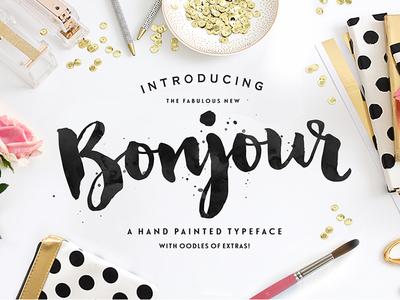 Bonjour Font font brush brush lettering hand lettering typography paint watercolour painted script typeface type