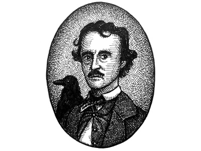Edgar Allan Poe macabre creepy morbid ink illustration pen and paper pen drawing ink drawing traditional illustration drawing raven illustration crosshatching pen and ink portrait