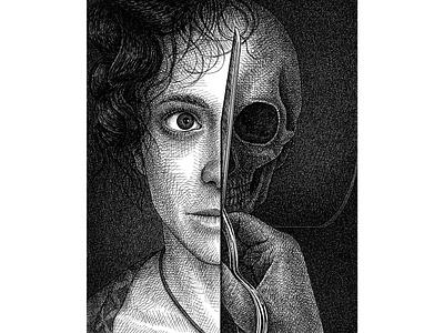 Vanitas black black and white drawing ink hand drawn texture portrait skull artist drawing artwork illustration
