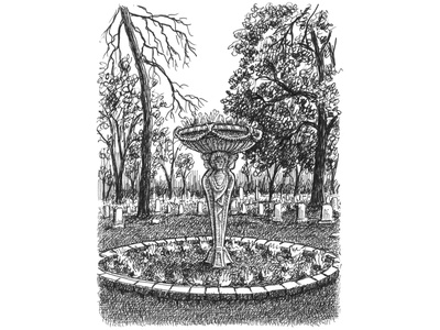 Cemetery Flower Urn pen drawing cemetery pen and ink crosshatching artist ink hand drawn art artwork illustration drawing