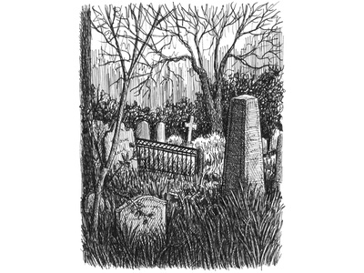 Annabel Lee Cemetery pen and ink crosshatching landscape charleston poe cemetery ink hand drawn art artwork drawing illustration