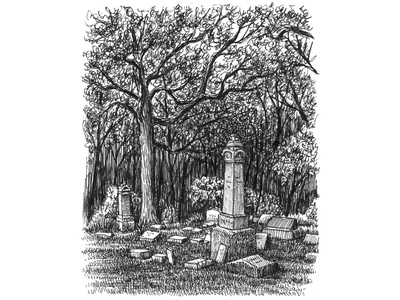 Cemetery Corner pen and ink tree cemetery artist ink art hand drawn artwork drawing illustration