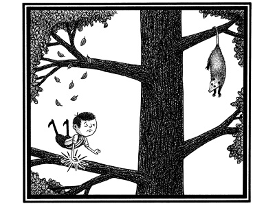 The Refinement Tree pen and ink opossum animals tree ink artist art hand drawn artwork drawing illustration