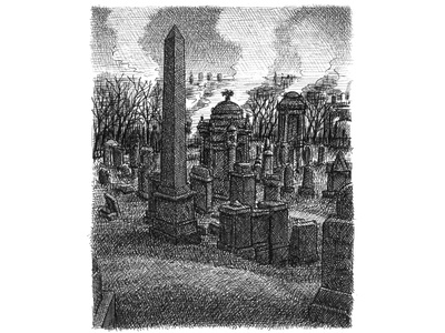 Glasgow Necropolis cemetery scotland artist ink hand drawn art artwork drawing illustration