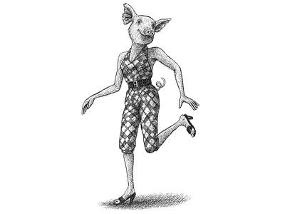 This Little Piggy childrens illustration whimsical animals pig artist ink hand drawn art artwork drawing illustration
