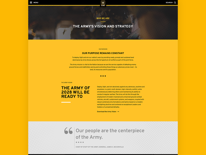 "ARMY.MIL - ""Who We Are"" Webpage website web design webdesign uidesign army typography minimal layout landing page landing interface creative clean"