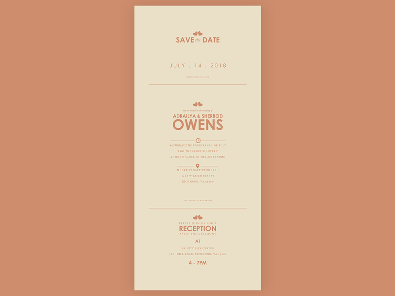"Wedding Save the Date and Invitation ""Owens"" minimal modern email design ecard icons flatdesign flat design brand branding print print design invitation save the date marriage wedding"