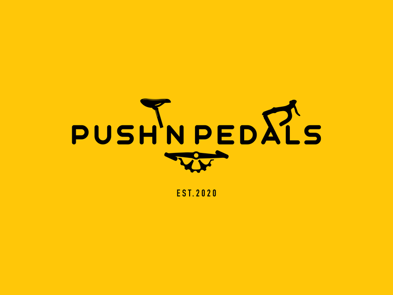 Push N Pedals typography modern minimalist minimal logo design logo icon flat design bicycle cycle branding brand identity brand