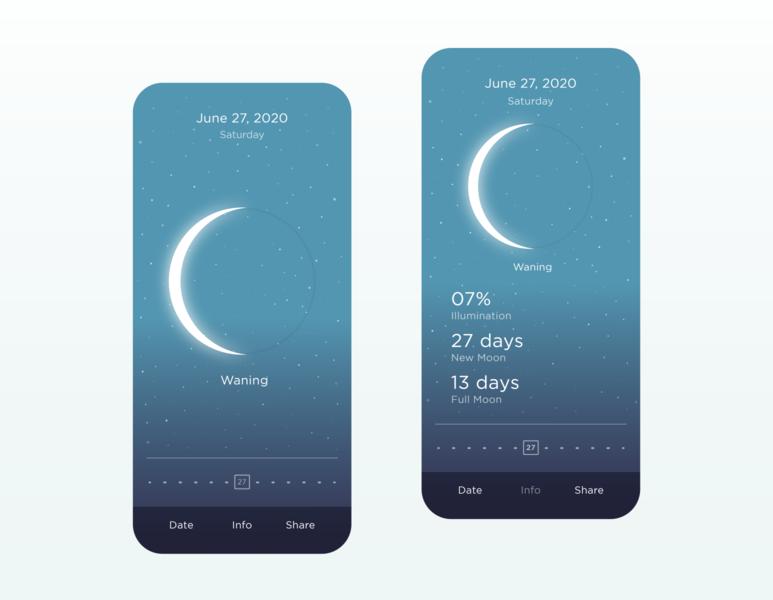 MOON - Current Moon Phase App sky stars astronomy lunar space chalender moon minimal design app ux ui