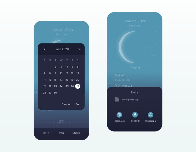 MOON - Current Moon Phase App app ui ux space moon minimal design
