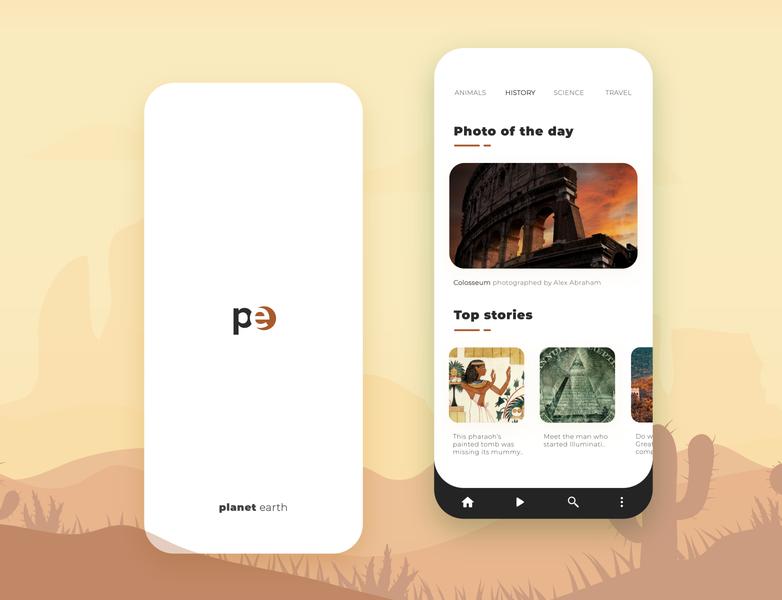 Planet earth - App for the everyday explorer travel explore news information branding ui ux minimal design app