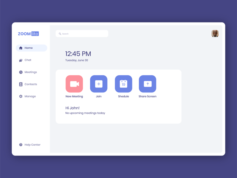 Zoom Lite App meeting zoom webdesign information ui ux minimal design app