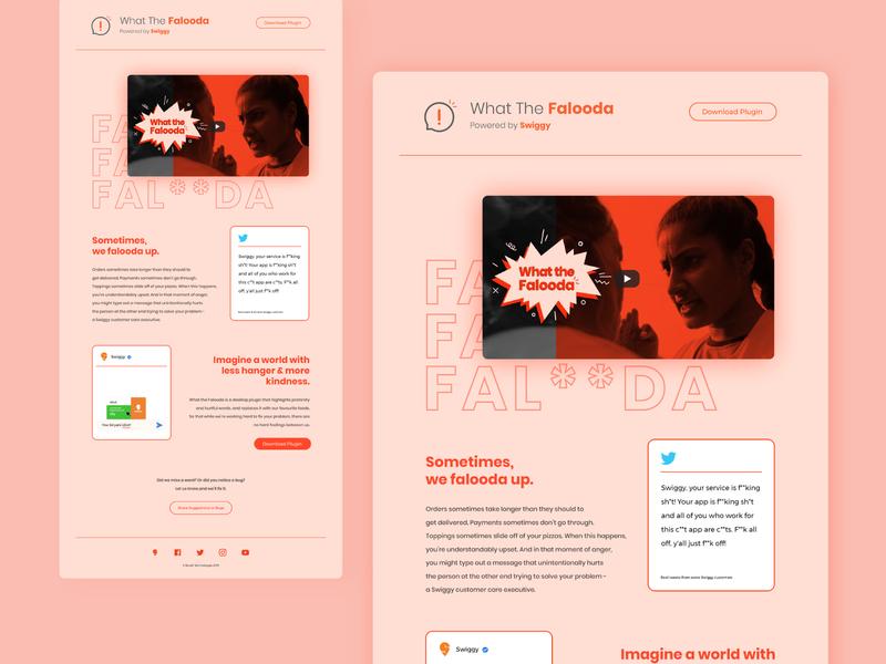 What the Falooda - Powered by Swiggy single page layout web design website design visual design food delivery food app desktop extension app design branding information ux ui