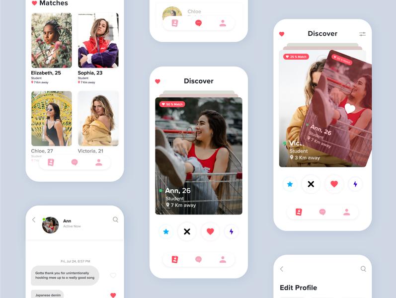 Dating App ux ui information match chat datingapp dating tinder app design