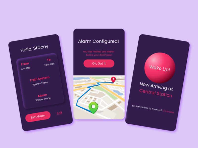 Commute Alarm App commute ux alarm wakeup nap ui design