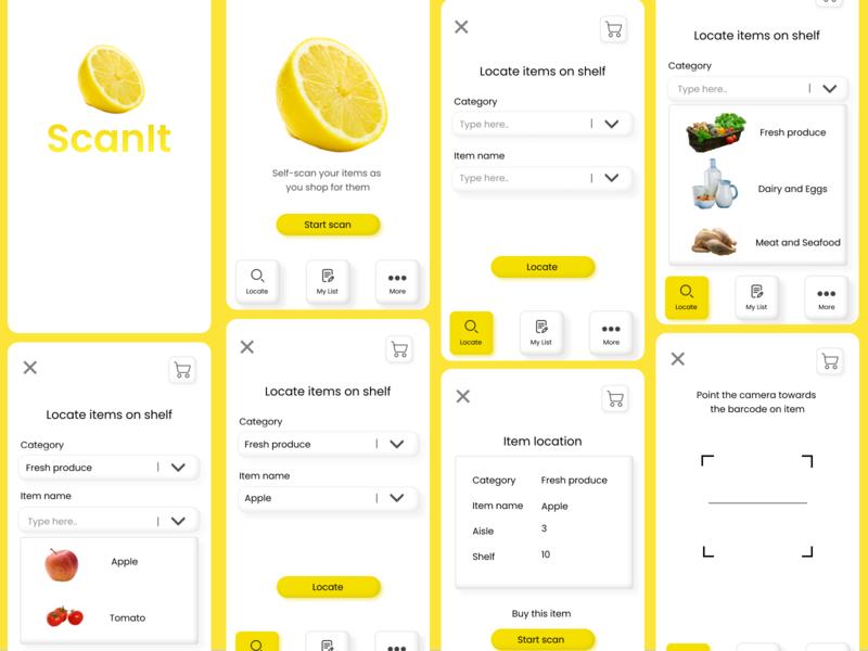 ScanIt App ux design minimalism supermarket scan