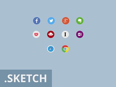 Social Icons + .sketch file social icons sketch facebook twitter googleplus evernote pocket readability instapaper safari chrome