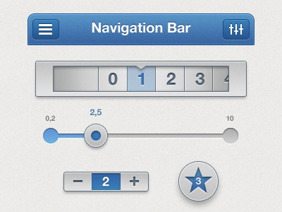 Some UI ui gui iphone ios app controls buttons navbar slider blue grey