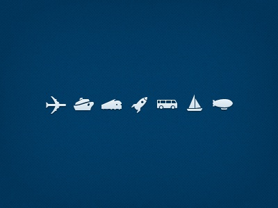 Transport Icon Set icons icon ios iphone app travel transport plane ship boat train rocket bus yacht airship blue