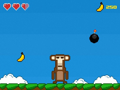 Mobile browser game ios iphone android game mobile browser arcade 8-bit monkey banana cannonball pixel art