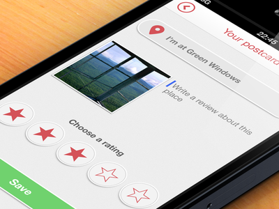 Creation of postcard ios app iphone photo rating ui interface grey red green postcard