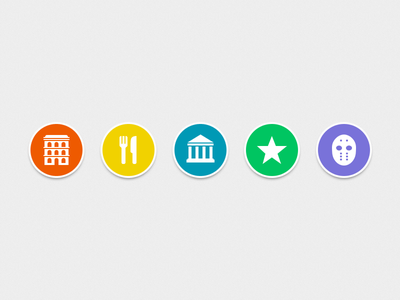 Categories Icons icons categories circles ios iphone app applications hotel food museum poi