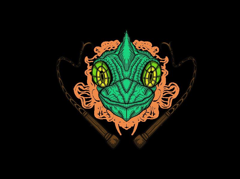 Chameleon Head & Whips Illustration animal illustration chameleon animal adobe branding vector drawings illustrator art logo illustration drawing design