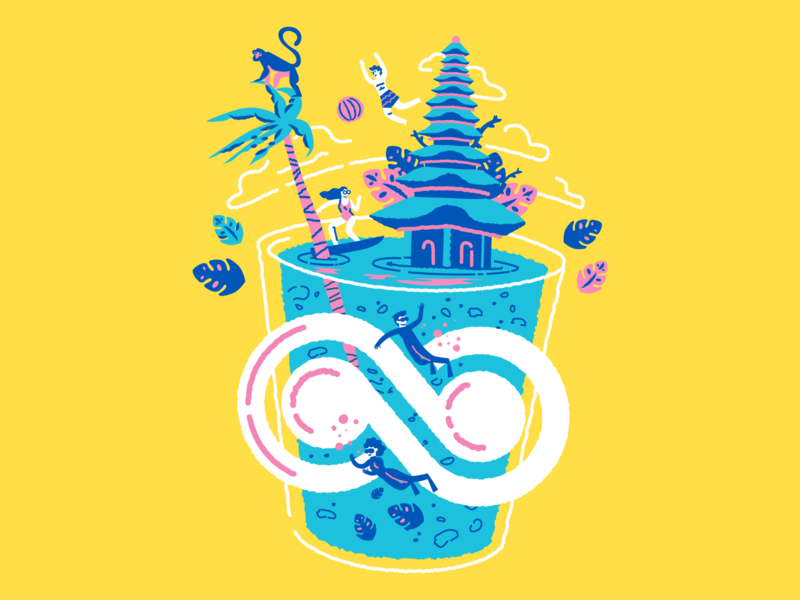 Bali t-shirt Illustration yellow indonesia bali trip tshirt colors characters illustration