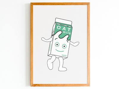 Milky from Blur's Coffee and Tv goes vegan happy white green vector illustration vector milky oat 90s icon 90s music oatmilk veganmilk vegan 90s blur coffeeandtv design illustration