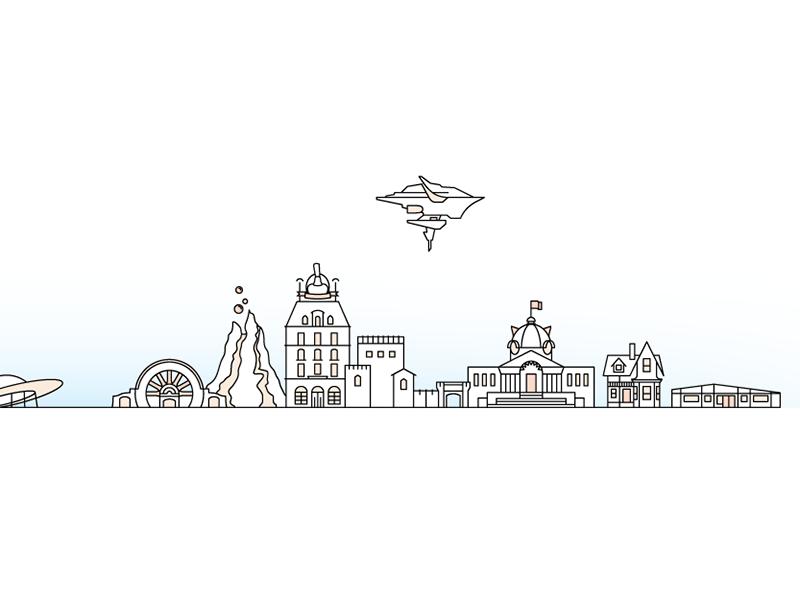 Happy Place: A Pixar Cityscape illustration pixar line art animation architecture vector flat