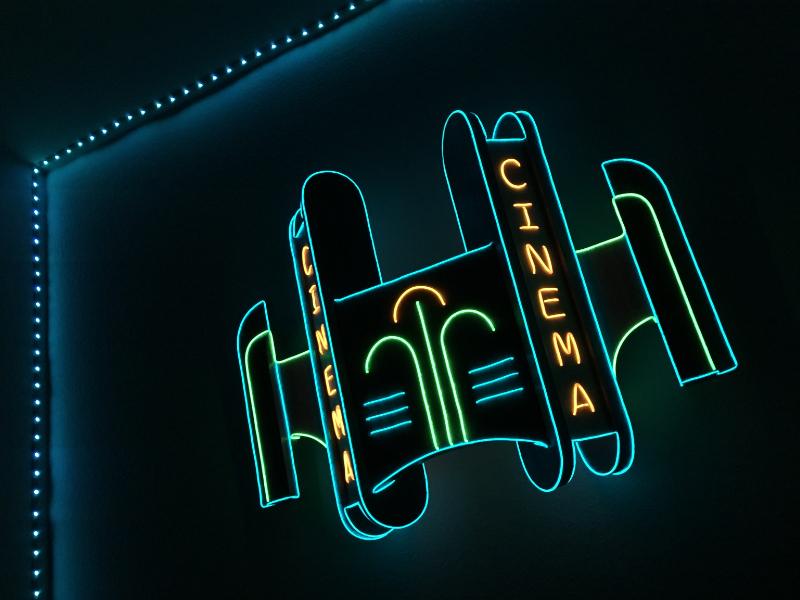 Neon Cinema Sign art deco diy cinema theater wood signage sign neon
