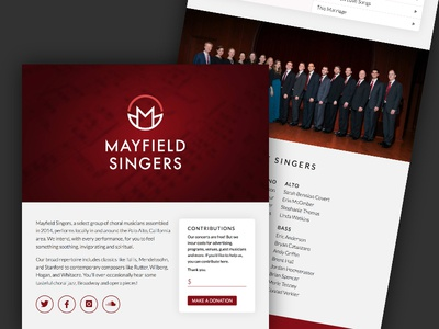 Mayfield Singers Website site red music choir website
