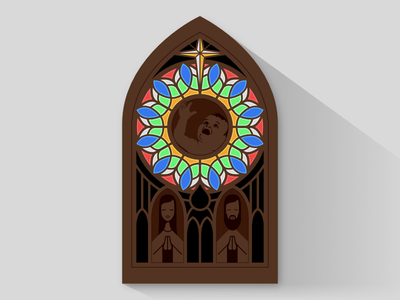First Light laser cut nativity stained glass wood