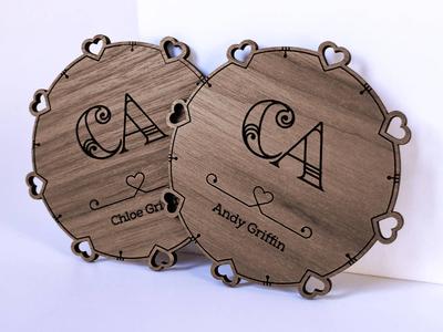 Wedding Coasters glowforge affinity designer laser cut logo coaster wood wedding