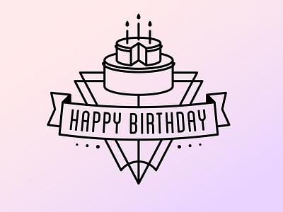 Happy Birthday Badge cake birthday badge affinity designer line art