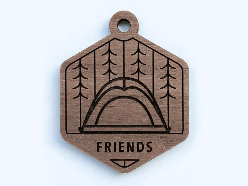 Camping Keychain badge glowforge ipad pro tree tent camping wood line art affinity designer