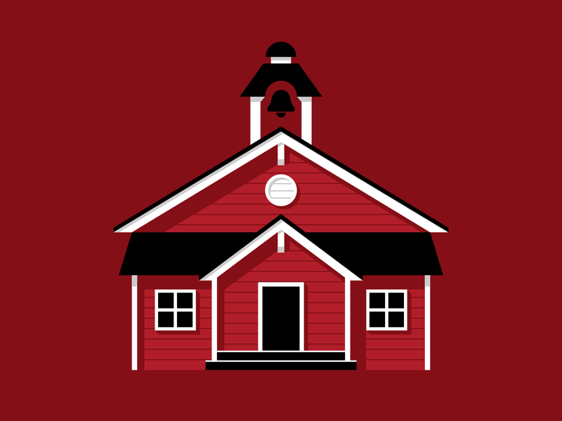 Schoolhouse affinity designer education illustration school red monochrome