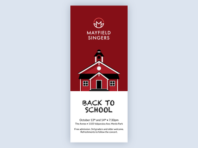 Concert Invitation for Mayfield Singers monocrhome schoolhouse school red concert music invitation