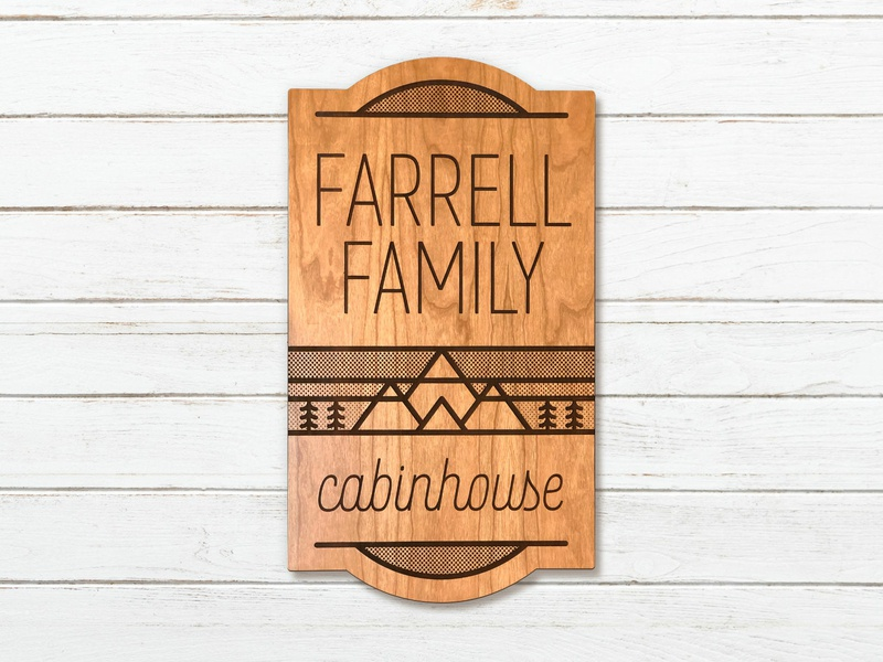 Farrell Family Cabin Sign illustration affinity designer line art sign laser cut wood mountain tree cabin