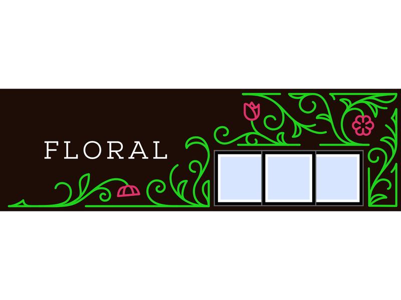 Floral Department Wall Art vector illustration environmental graphics line art floral