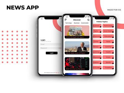 Concept News app login ui news app ux graphic design