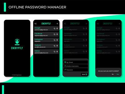 Encryptly Password manager UI ux design app ui ui password manager